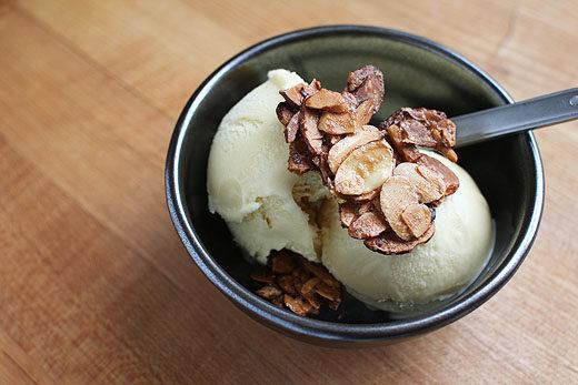 Malt Ice Cream with Almond Crunch