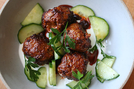 Chile-Cumin Lamb Meatballs with Yogurt and Cucumber (recipe adapted ...
